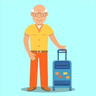 Touriste à la retraite de sexe masculin âgé avec valise de vacances