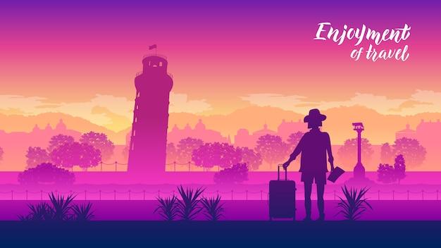 Un touriste se tient à l'arrière-plan des lieux de campagne populaires