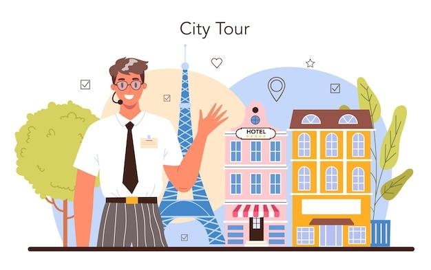Touristes de concept de guide de vacances d'excursion écoutant l'histoire
