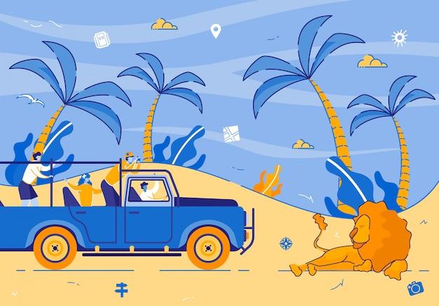 Touristes conduisant une jeep en safari en afrique, safari