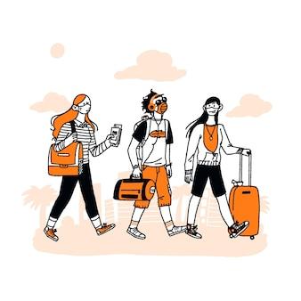 Touristes dessinés à la main avec des bagages