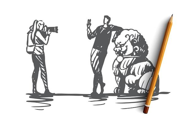 Touristes dessinés à la main prenant une photo près de croquis de concept de statue