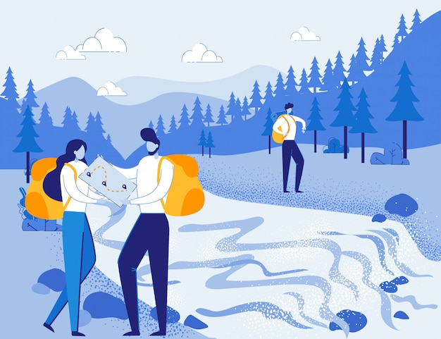 Les touristes explorateurs font un itinéraire en forêt guidé