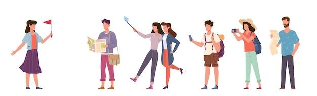 Touristes et guide touristique. groupe de personnes en voyage avec appareil photo, excursion avec tour cicerone, famille de vacances saisonnières et couples avec smartphones et cartes vecteur concept plat isolé de dessin animé