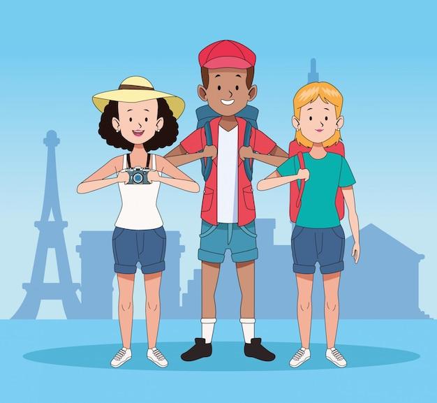Touristes heureux et conception de voyage