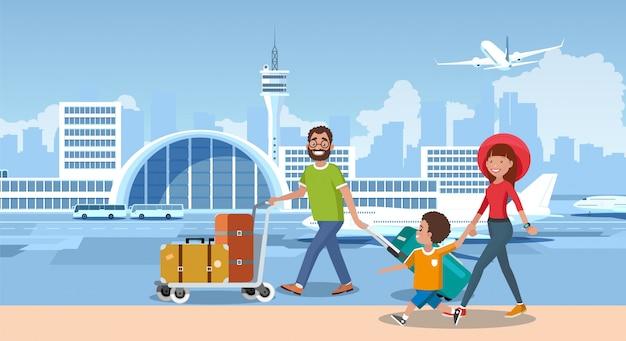 Touristes heureux voyagent avec vecteur de dessin animé de compagnie aérienne