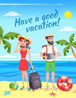 Touristes, pendant, été, illustration, vacances
