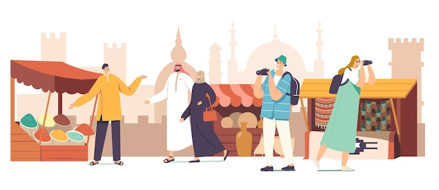 Touristes personnages masculins et féminins avec caméra et populations locales en costume arabe visitent le concept de marché arabe. voyageurs marchant le long des étals avec des épices, des tapis et de la poterie. illustration vectorielle de dessin animé