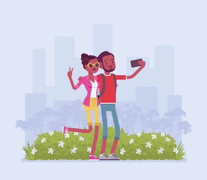touristes prenant selfie