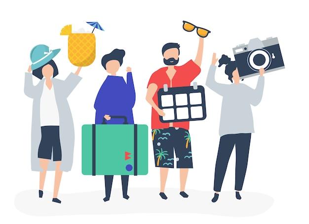 Touristes en vacances tropicales