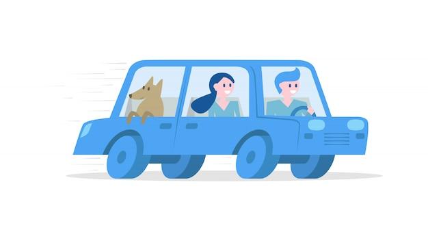 Touristes voyageant en voiture