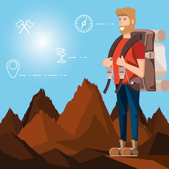 Touristique de l'homme dans le paysage avec des icônes définies