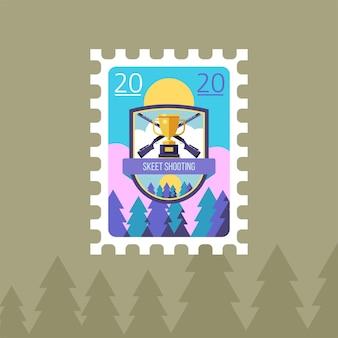 Tournage. coupe sportive et carabines. illustration vectorielle d'un timbre-poste.