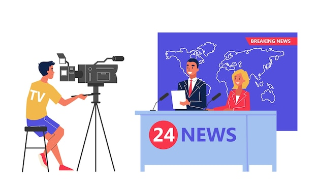 Tournage du journal télévisé en studio. journaliste