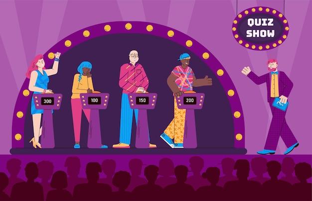 Tournage d'une émission télévisée de quiz avec l'hôte et les invités illustration vectorielle de dessin animé