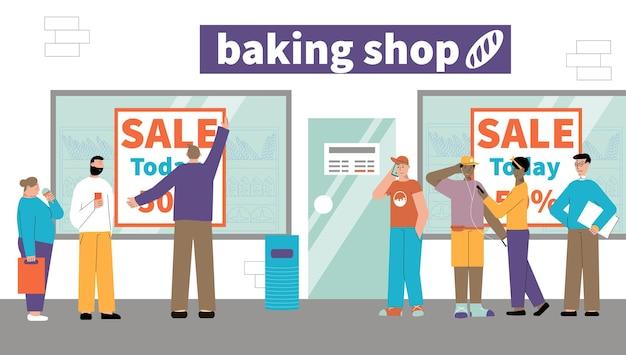 Tourner les gens vente boutique illustration plate