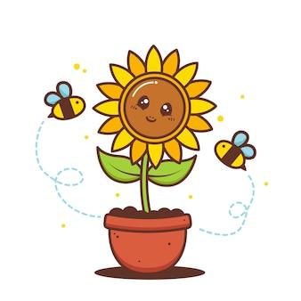 Tournesol mignon en pot avec des abeilles