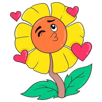 Les tournesols accueillent le printemps plein d'amour, art d'illustration vectorielle. doodle icône image kawaii.