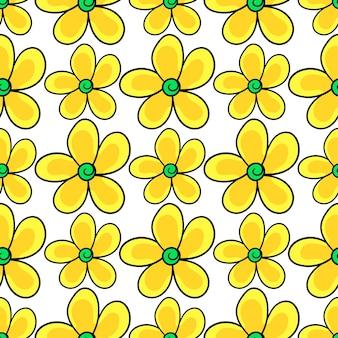 Les tournesols fleurissent l'impression textile de modèle sans couture. idéal pour le tissu vintage d'été, le scrapbooking, le papier peint, les emballages cadeaux. motif de répétition de la conception de fond