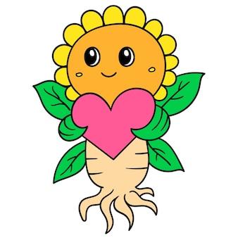 Les tournesols mignons apportent la saint-valentin de célébration de coeur d'amour, dessinent le kawaii de griffonnage. illustration
