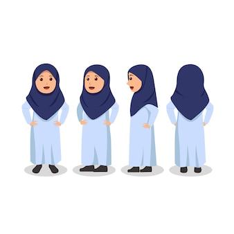 Tournez la conception de caractère de petite fille arabe