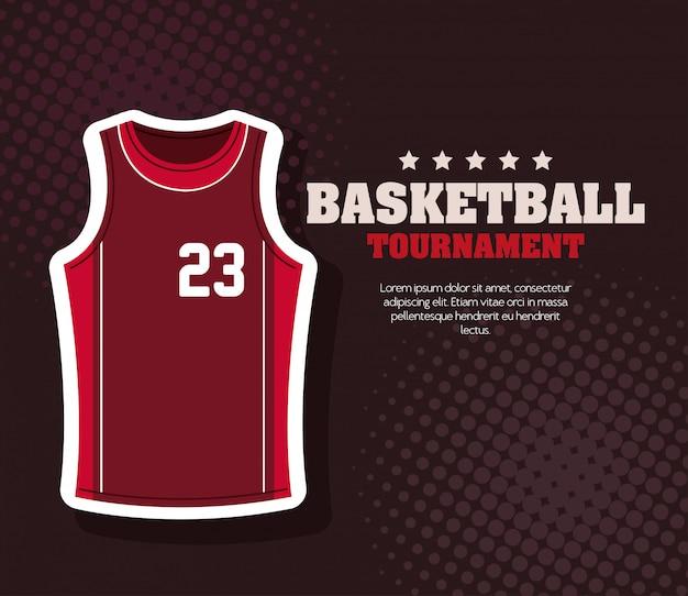 Tournoi de basket-ball, emblème, conception de basket-ball, tissu de sport de chemise