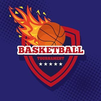 Tournoi de basket-ball, emblème, design avec ballon de basket, flamme avec ballon et bouclier