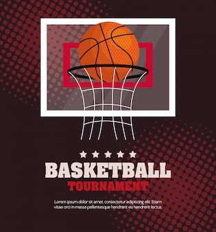 Tournoi de basket-ball, emblème, design avec ballon de basket et panier de cerceau