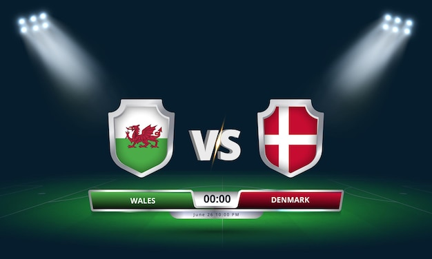 Tournoi de la coupe d'europe des 16 pays de galles contre le danemark match de football diffusion tableau de bord