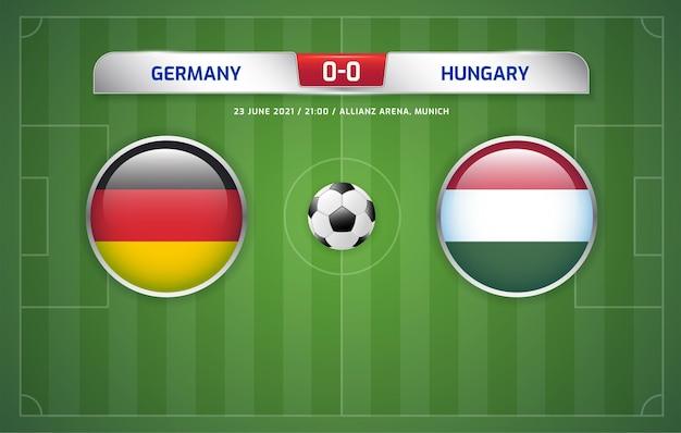 Tournoi de football de diffusion du tableau de bord allemagne vs hongrie 2020 groupes f