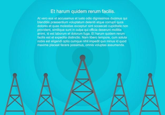 Tours cellulaires de télécommunications dans le style plat de papier volumétrique