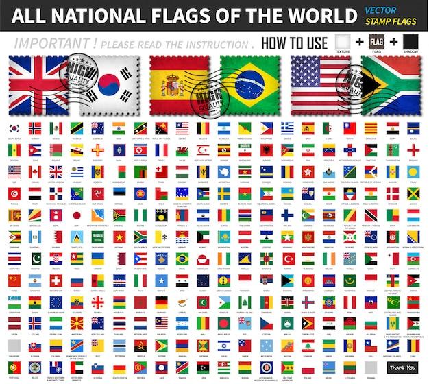 Tous les drapeaux nationaux officiels du monde. ancien design de forme de timbre avec scratch