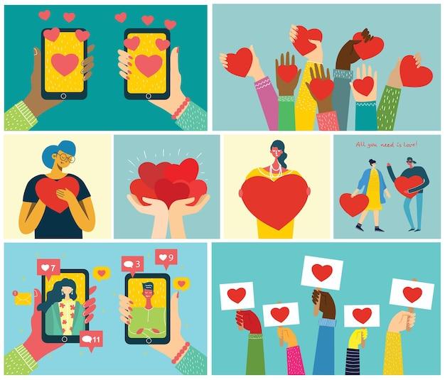 Tout ce dont vous avez besoin, c'est d'amour. les mains et les gens avec des cœurs comme des massages d'amour.
