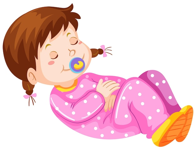 Tout-petit fille avec tétine sieste