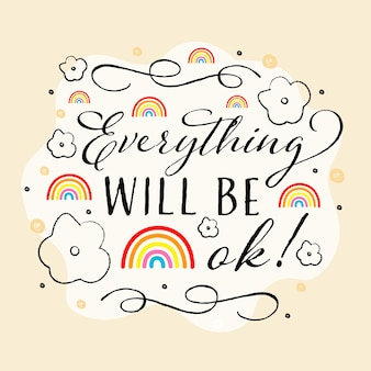Tout sera ok arc-en-ciel et lignes fantaisie