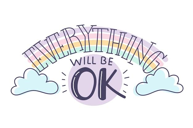 Tout sera ok lettrage avec arc-en-ciel