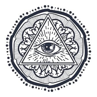Tout voir les yeux en triangle et mandal