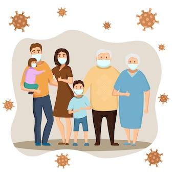 Toute la famille de la maison porte un masque pour prévenir le virus covid-19 dans la maison de l'icône grand-père, grand-mère, papa, maman, fils, fille.