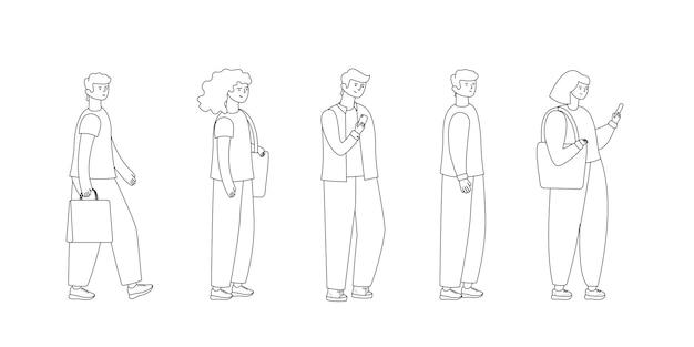 Toute la longueur des personnages de dessins animés faisant la queue contre le contour.