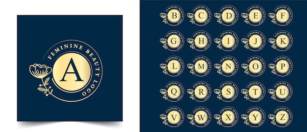 Toutes les lettres initiales logo botanique féminin et floral dessiné à la main convient à la boutique de beauté des cheveux et aux cosmétiques de salon de spa