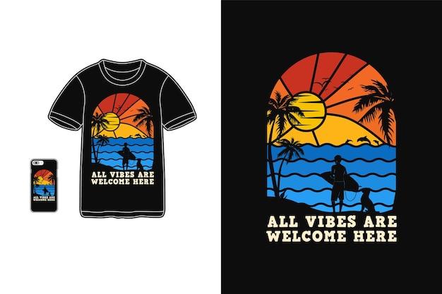 Toutes les vibrations sont les bienvenues ici, style rétro silhouette design t-shirt