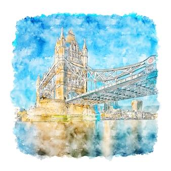 Tower bridge london aquarelle croquis illustration dessinée à la main