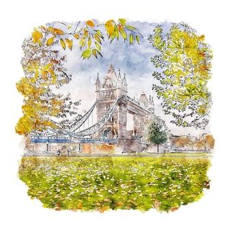Tower bridge londres royaume-uni croquis aquarelle illustration dessinée à la main