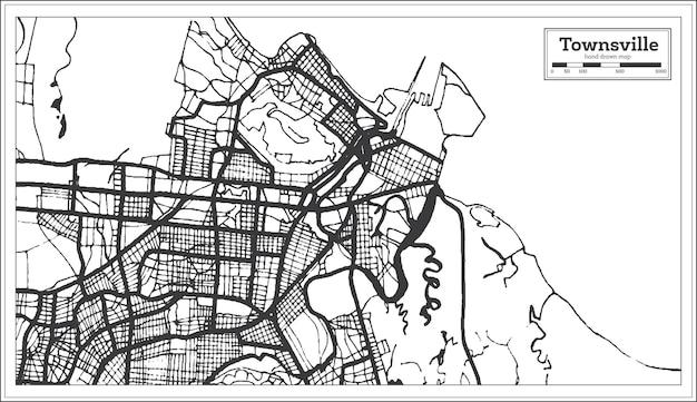 Townsville australie plan de la ville en couleur noir et blanc. carte muette. illustration vectorielle.