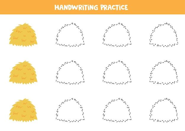 Traçage des contours de la pratique de l'écriture manuscrite de botte de foin pour les enfants