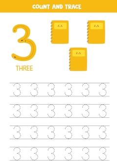 Traçage de la feuille de calcul numéro trois avec de jolis cahiers.