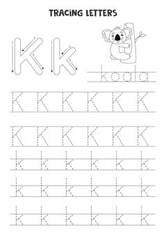 Traçage des lettres de l'alphabet anglais. feuille de travail en noir et blanc.