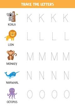 Traçage des lettres de l'alphabet anglais