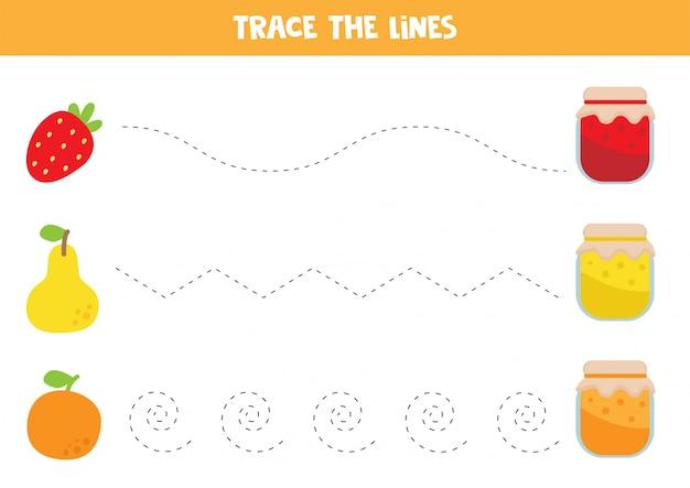 Traçage des lignes avec de la confiture et des fruits.