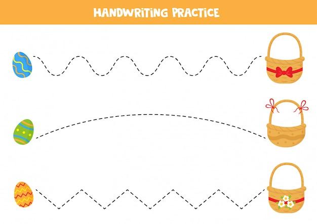 Traçage des lignes avec des oeufs de pâques colorés et des paniers.